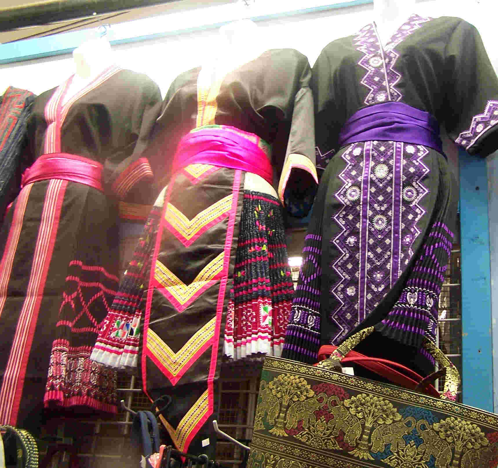 Hmong Dresses Hanging in the Hmongtown Marketplace